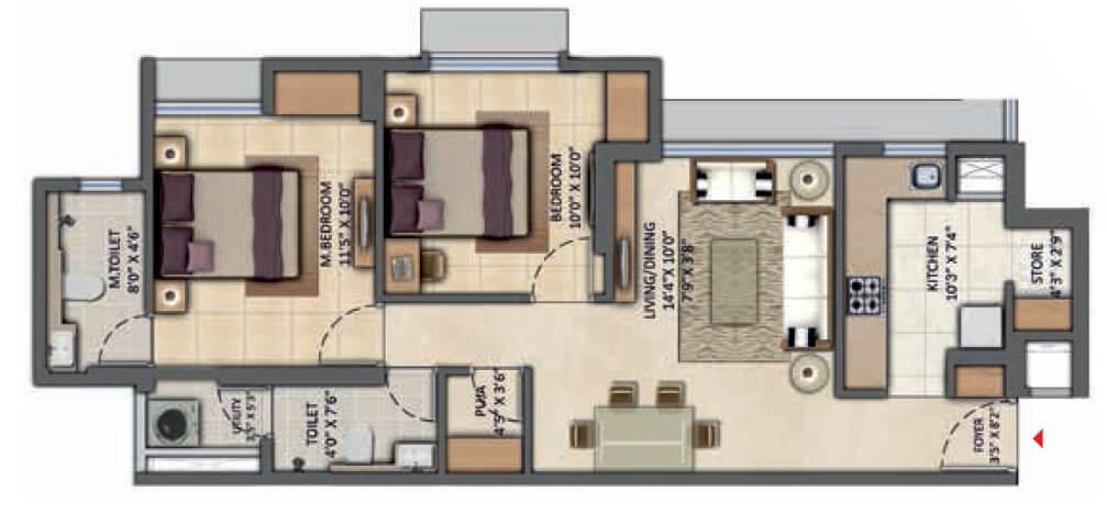 lodha amara new tower apartment 2bhk 659sqft 1