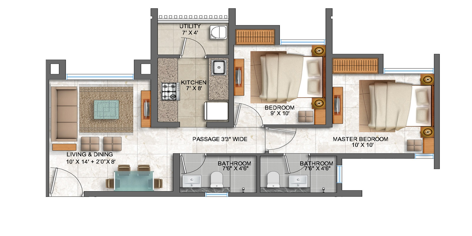 lodha prime square apartment 2bhk 647sqft21