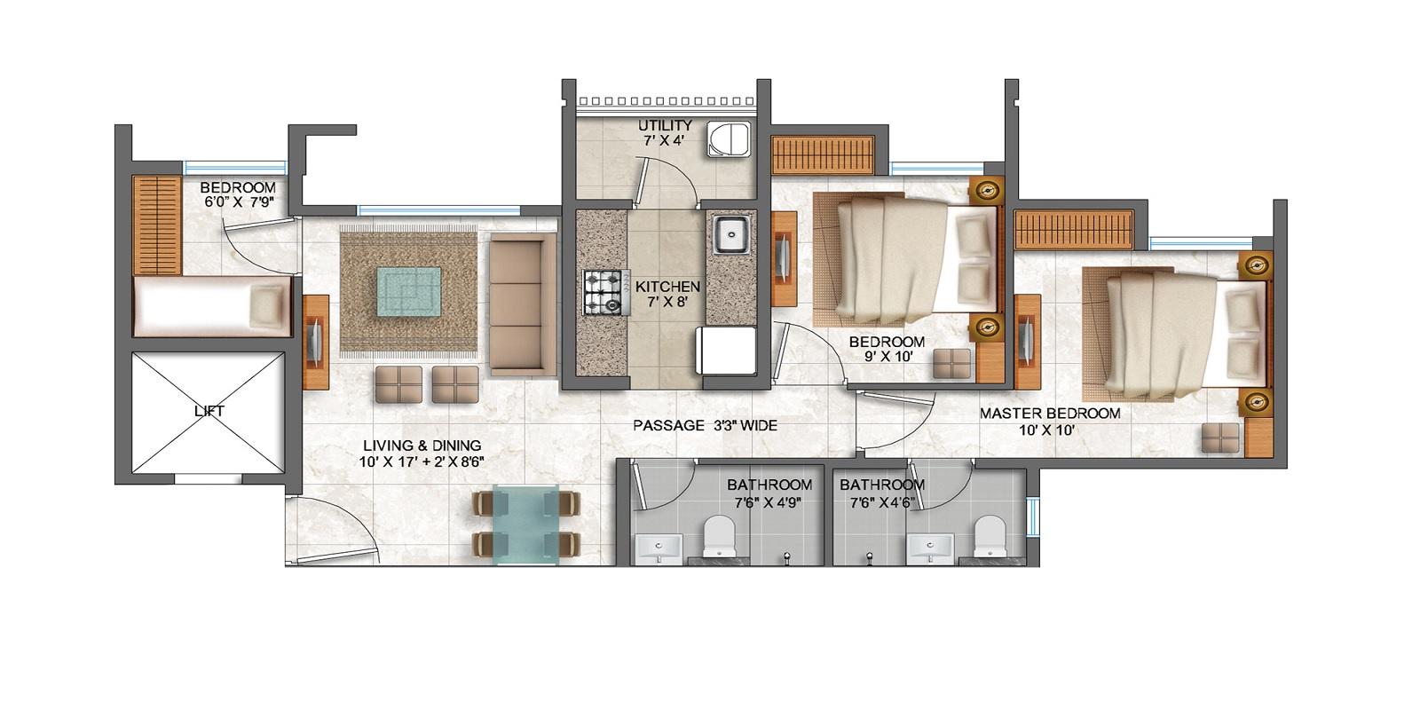lodha prime square apartment 3bhk 920sqft41