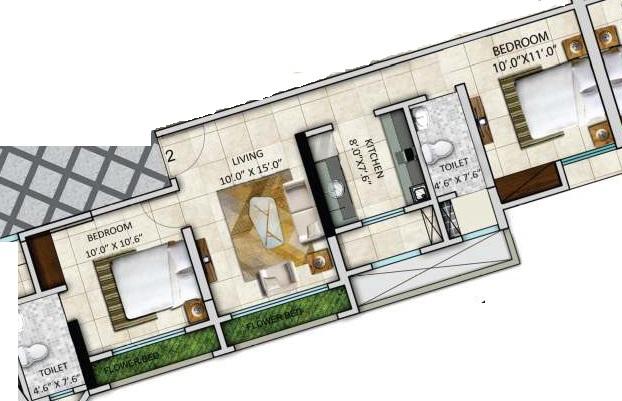 paradigm zenith  apartment 2 bhk 668sqft 20213913163902