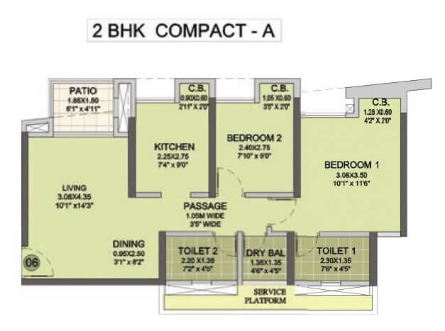 puraniks city reserva apartment 2bhk 974sqft 1