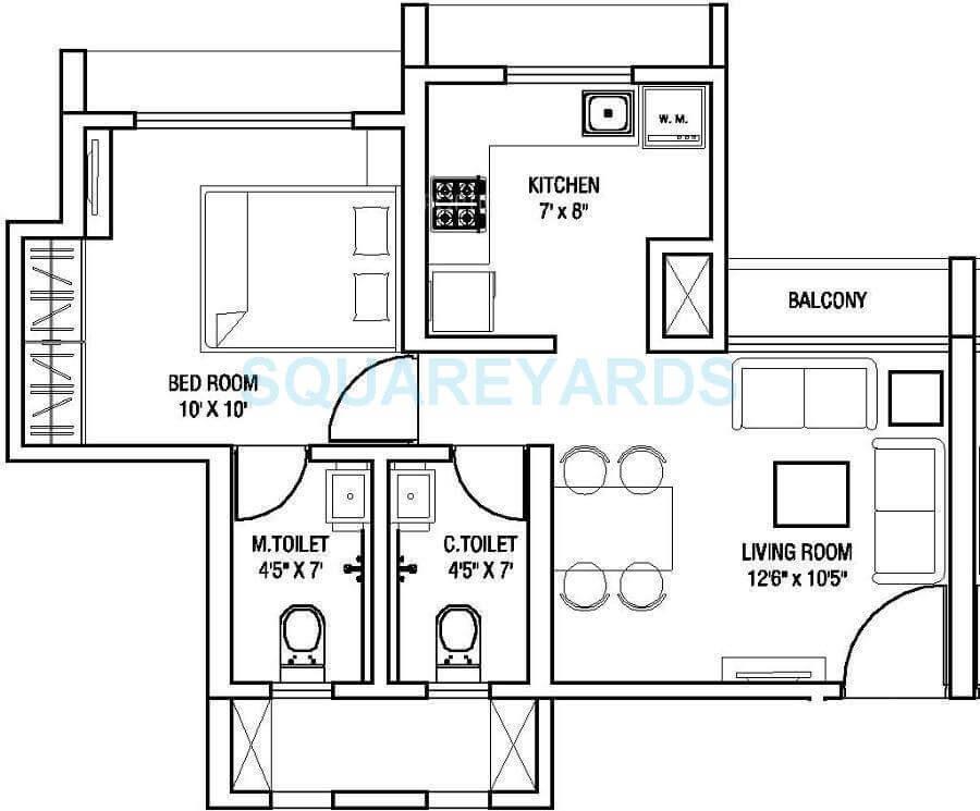 runwal eirene apartment 1bhk 423sqft 1