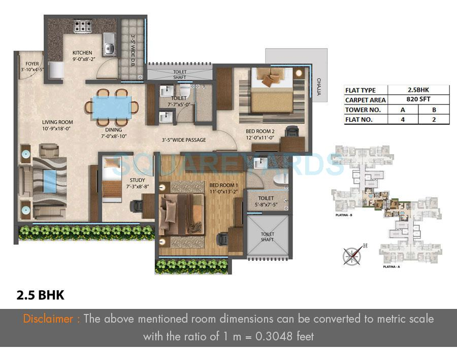 the wadhwa platina apartment 2bhk 820sqft 1