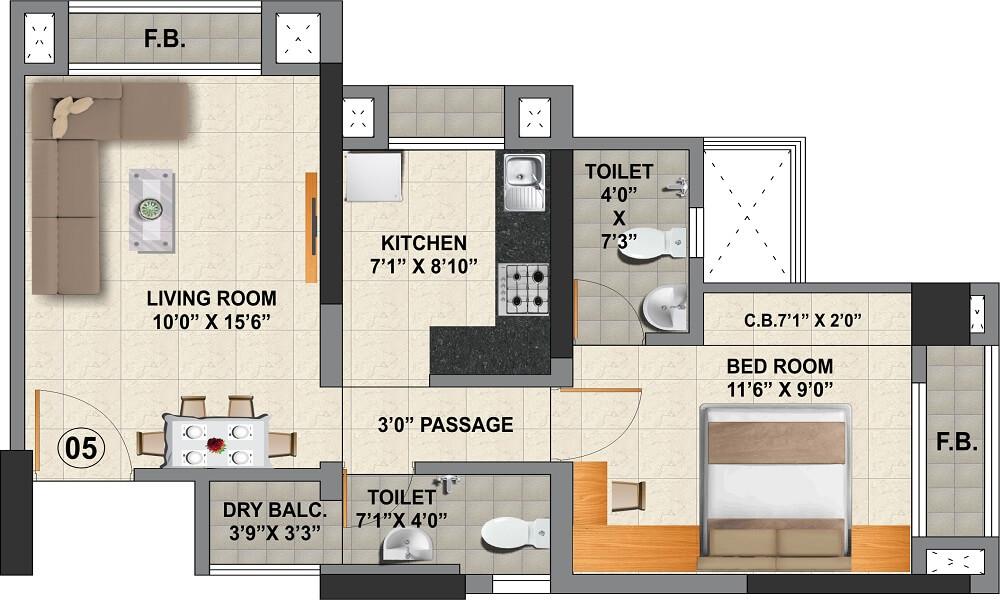 viraj heights apartment 1bhk 397sqft 1