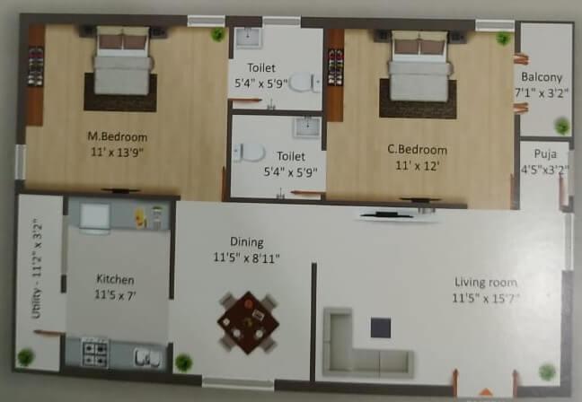 good life homes apartment 2bhk 1225sqft 1
