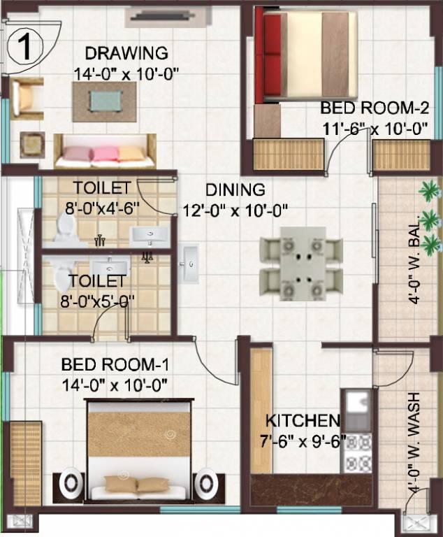manjeera monarch apartment 2 bhk 1070sqft 20212917122920