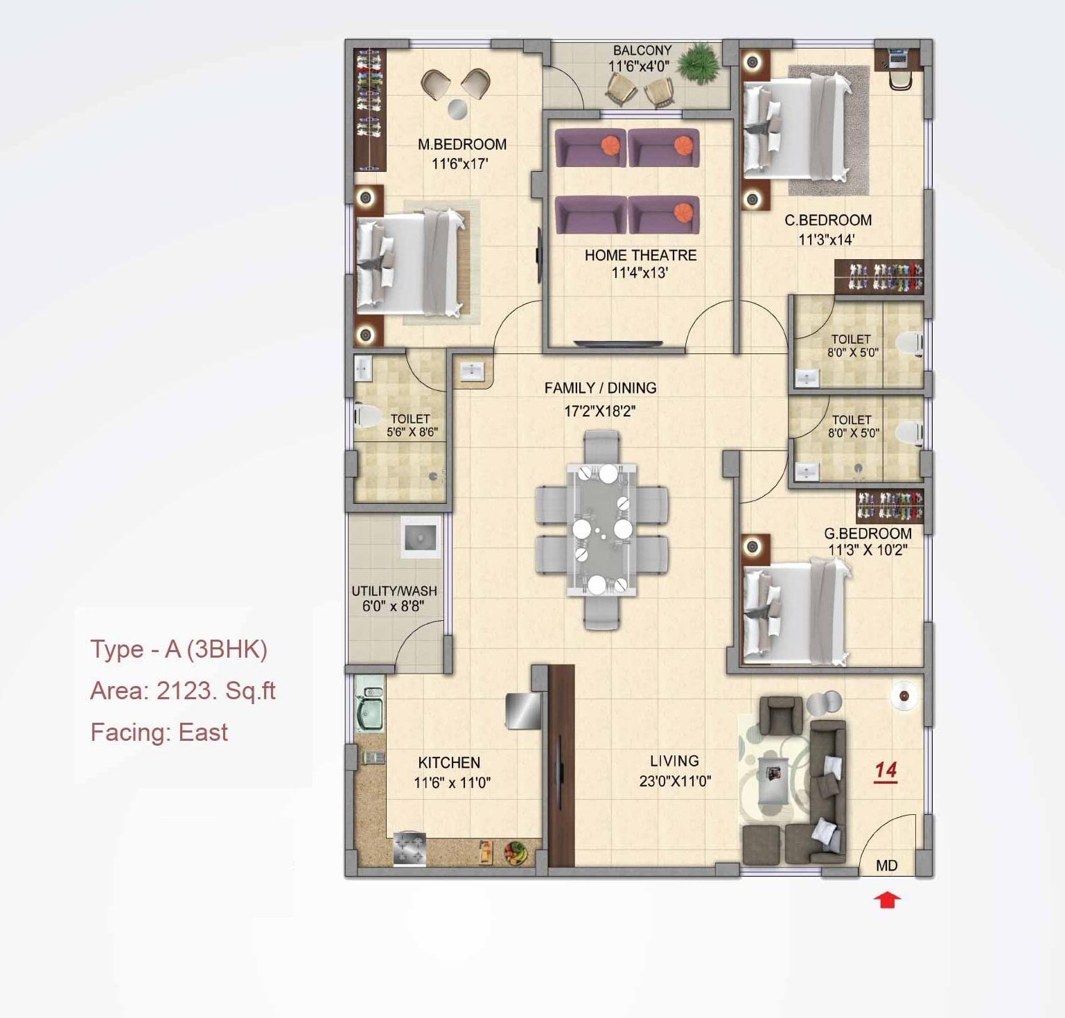 prasiddhi sri rama temple bells apartment 3 bhk 2123sqft 20212817162802