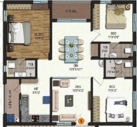 samhita splendid homes apartment 3bhk 1074sqft 1