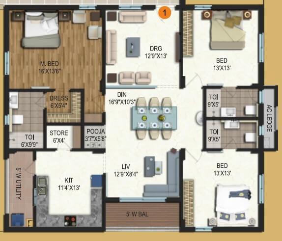 samhita splendid homes apartment 3bhk 1517sqft 1