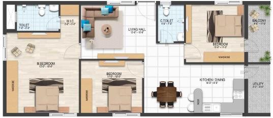abhilash yaksha square apartment 3bhk 1320sqft1