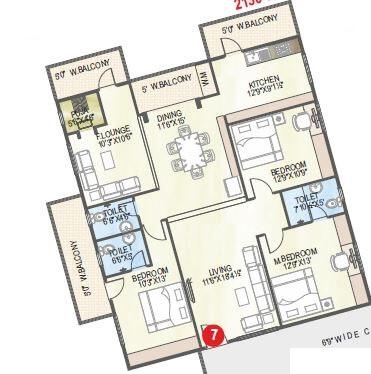 abhiram nirman touchstone towers apartment 3bhk 2130sqft 1