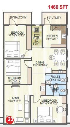 abhiram touchstone towers apartment 3bhk 1460sqft 1