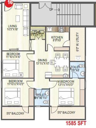 abhiram touchstone towers apartment 3bhk 1585sqft 1