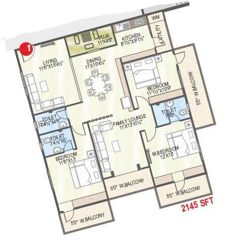 abhiram touchstone towers apartment 3bhk 2145sqft 1