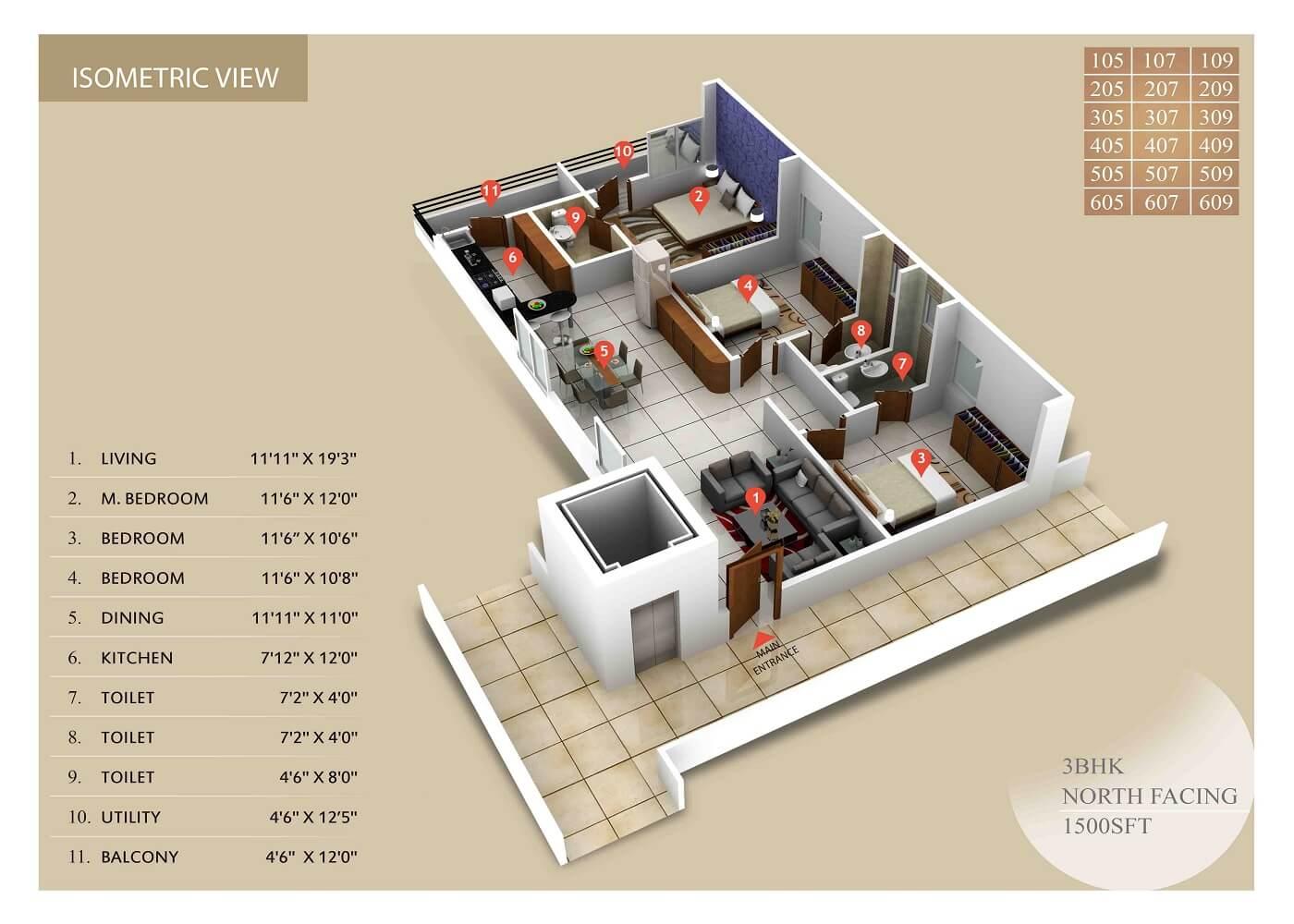 integral sunrise city apartment 3bhk 1500sqft 1