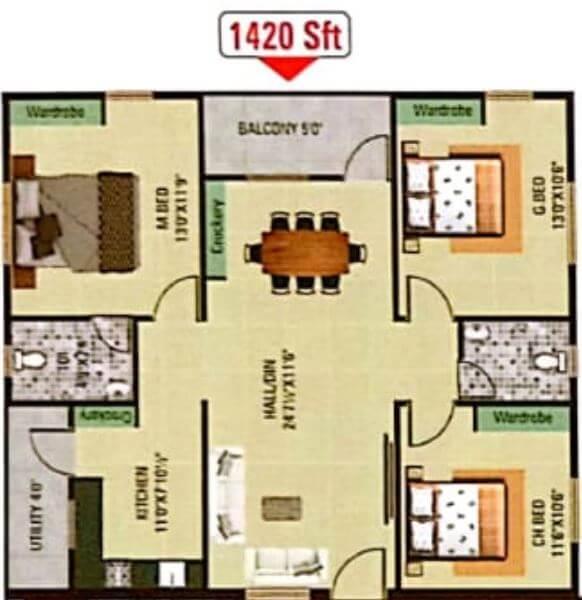 sanjay padmaja arcade apartment 3bhk 1420sqft 1