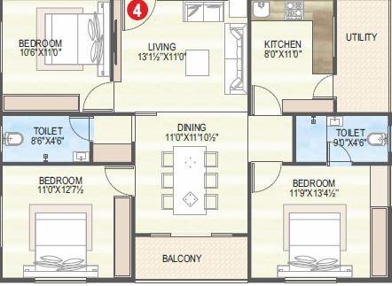 vaisakhi sankalp west winds apartment 3bhk 1400sqft 1