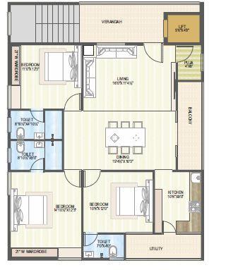 vaisakhi sankalp west winds apartment 3bhk 1645sqft 1