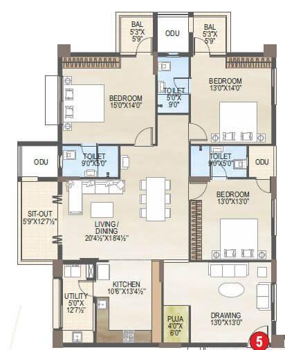 vaisakhi skypark apartment 3bhk 2410sqft 1