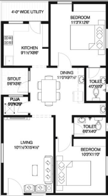 vineet infinity towers apartment 2bhk 1110sqft 1