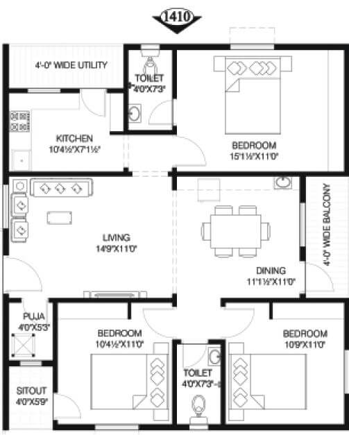 vineet infinity towers apartment 3bhk 1410sqft 1